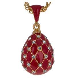 "Fabergé Egg Necklace ""Red Trellis"""