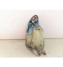 Hand Painted Folk Figurine Woman Sitting
