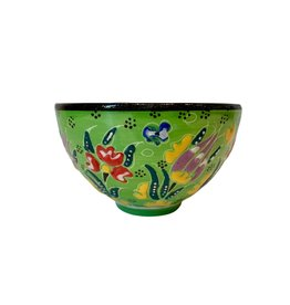 Black Sea Pottery Footed Relief Bowl (Green)