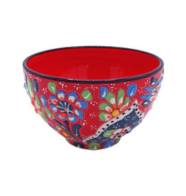 Black Sea Pottery Footed Relief Bowl (Red)