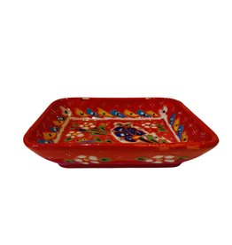 Black Sea Pottery Large Relief Dish (Red)