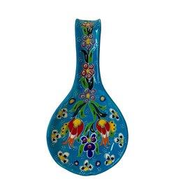 Black Sea Pottery Relief Spoon Rest (Light Blue)