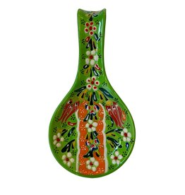 Black Sea Pottery Relief Spoon Rest (Green)