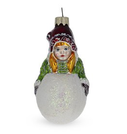 Girl with Snowball Glass Ornament