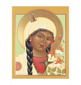 Olga Volchkova: St. Aguilegia Formosa (Columbine) Notecard