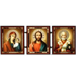 Triptych Icon: Virgin of Kazan, Christ and St. Nicholas
