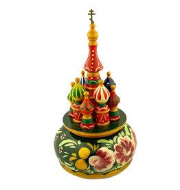 St. Basil's Music Box with Green Zhostovo