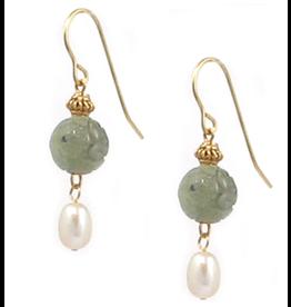 Imperial Jade and Pearl Earrings