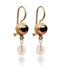 Imperial Garnet and Pearl Earrings