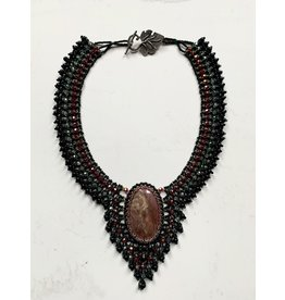 """OVS Beaded """"Heart"""" Agate & Rhodonite Necklace (Green)"""