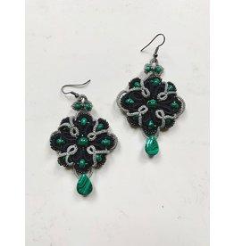 OVS Tatted Wreath Earrings (Green & Silver)