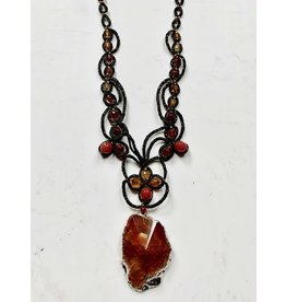 """OVS Tatted """"Golden Agate"""" Necklace"""