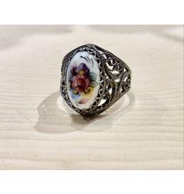 Vintage Finift Signet Ring with Violets (Adjustable)