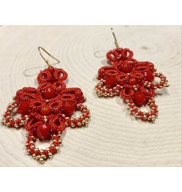 OVS Tatted Earrings with Agate (Red)