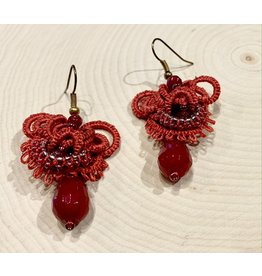 """OVS Tatted """"Drop"""" Earrings with Agate (Red)"""