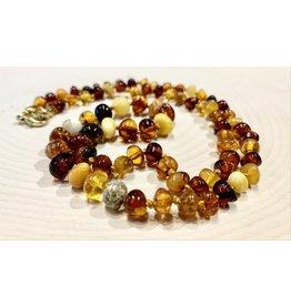 "Polish Multicolored Amber Necklace (10"")"