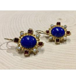 Garnet & Lapis Earrings