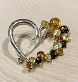 Amber Heart Pin