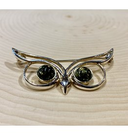 Green Amber Owl Pin