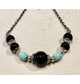Cherry Amber Necklace with Turquoise
