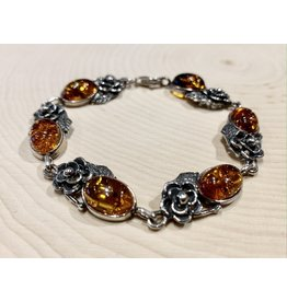 Amber Bracelet with Roses