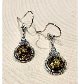 Victorian Amber Earrings (Green)
