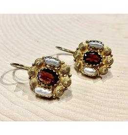 Garnet & Pearl Gold Earrings