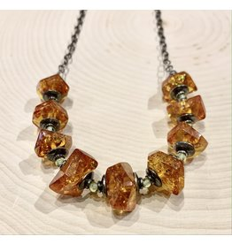 Art Deco Amber Necklace with Peridot