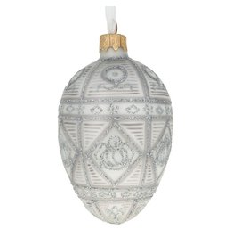 "Glass Egg Ornament ""Silver Gift"""