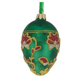 Glass Egg Ornament with Pansies