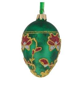 Glass Fabergé Egg Ornament (Pansies)