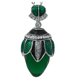 Fabergé Egg Necklace with Green Crystal