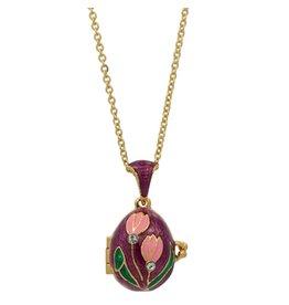 """Fabergé Egg Necklace """"Pink Tulip"""""""