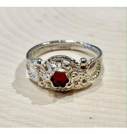 Traditional Slavic Ring with Garnet