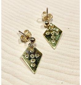 Vintage Embossed 14k Gold Cross Earrings