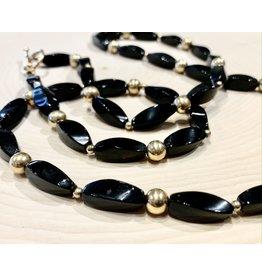 Vintage Soviet Black Glass Bead Necklace