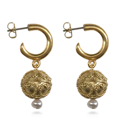 Central Asian Gold Folk Earrings with Pearl