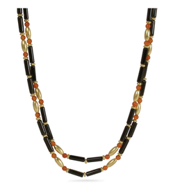 Traditional Carnelian and Onyx Necklace