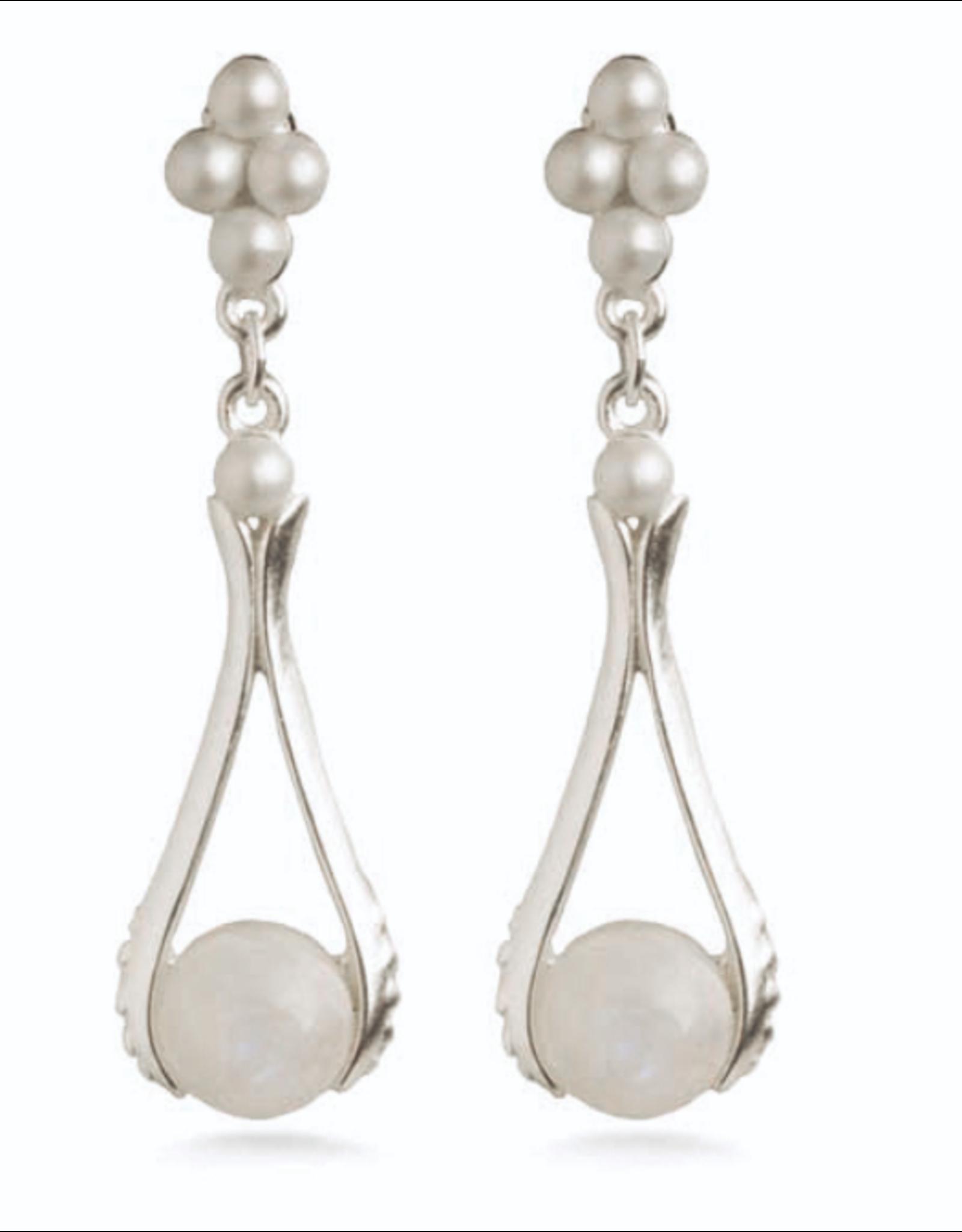 Art Nouveau Moonstone Earrings