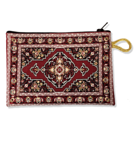 Red Tapestry Zipper Pouch