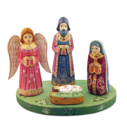 Hand-Carved Wooden Russian Nativity Set