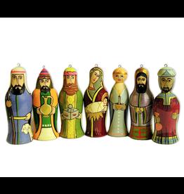 Hand-Carved Nativity Ornament Set (7)