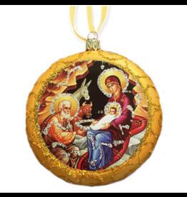 Gold Glass Nativity Ornament