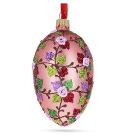 Glass Fabergé Egg Ornament (Rose Vines)