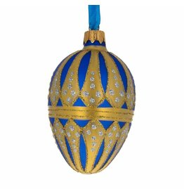 Glass Fabergé Egg Ornament (Imperial Blue and Gold)