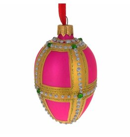 Glass Fabergé Egg Ornament (Pink and Gold)