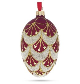 Glass Fabergé Egg Ornament (Red and Gold)