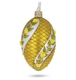 Glass Fabergé Egg Ornament (Yellow Roses)