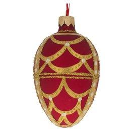 Glass Fabergé Egg Ornament (Gold Ribbon)
