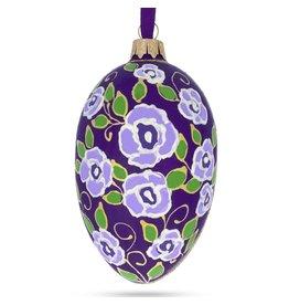 Glass Fabergé Egg Ornament (Purple Roses)